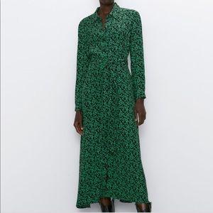 NWT!! 🚨 ZARA Black & Green Leaf Midi Dress